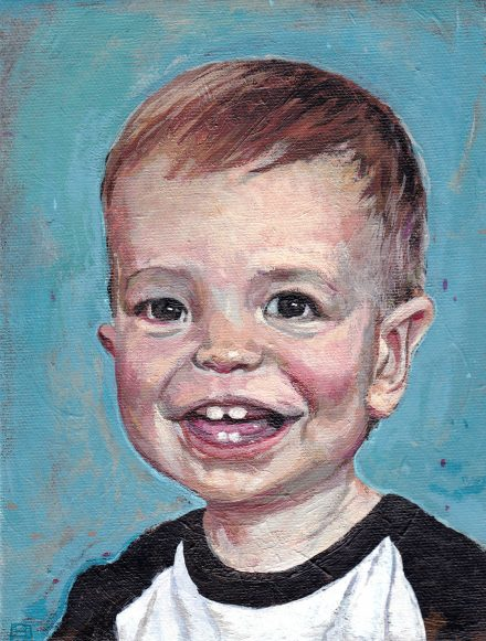 Aiden at 1 Year – 6″ x 8″ Acrylic on Canvas