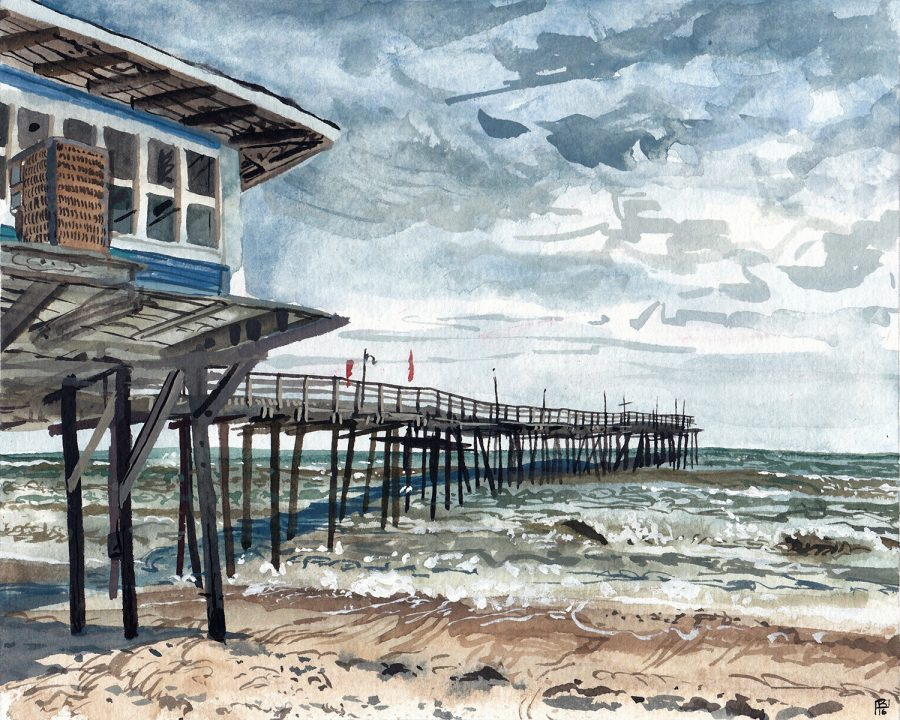 Avon Fishing Pier – 8″ x 10″ Gouache on Paper