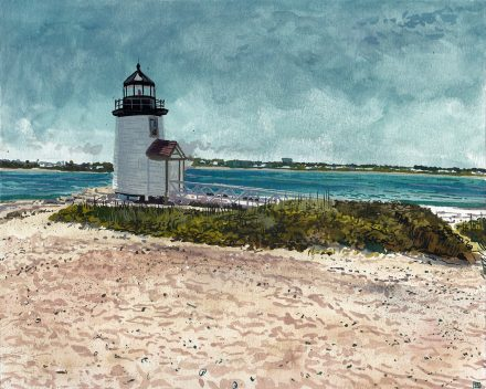 Brant Point Light – 8″ x 10″ Gouache on Paper