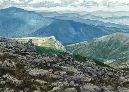 Lion Head at Mt. Washington, NH – 5″x7″ gouache study