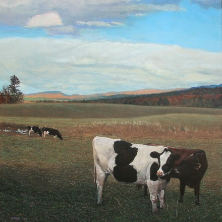 Pasture at Stowe, VT  – 36″x 36″ Acrylic on Canvas